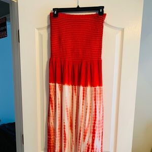 Ashley Stewart Red and White Tie-dye sundress.